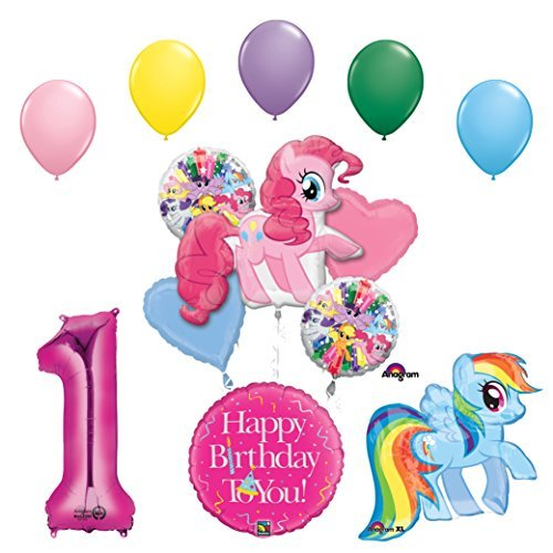 My Little Pony Pinkie Pie and Rainbow Dash 1st Birthday Party Supplies and Balloon Decorations