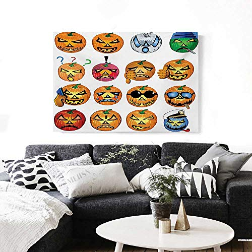 (BlountDecor Halloween Modern Canvas Painting Wall Art Carved Pumpkin with Emoji Faces Halloween Inspired Humor Hipster Monsters Artwork Art Stickers 24