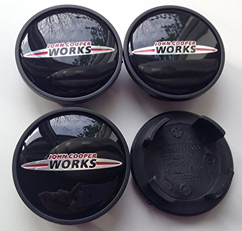 SET OF 4 MINI JOHN COOPER LOGO CENTRE CAPS WHEEL HUB ALLOY EMBLEM BLACK 54mm