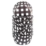 Eoonfirst Gingham Standard Cupcake Liners Muffin Baking Cups 200 Pcs (Black)