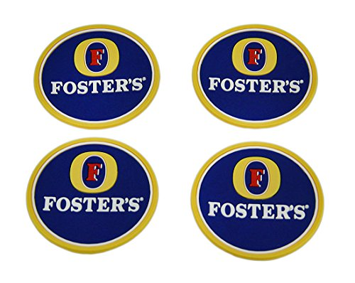 Fosters Lager (Plastic Coasters Set Of 4 Fosters Lager Rubber Coasters Mini Beverage Mats 2.5 X 0.13 X 2.5 Inches Yellow Model # MISC)