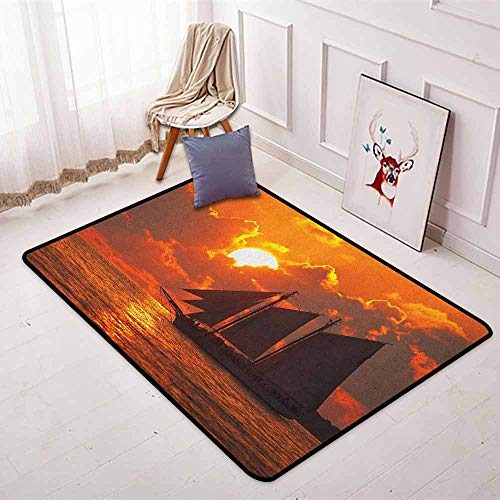 Sailboat Multifunctional Round Carpet A Boat Sailing in Front of a Sunset in Key West Florida Sundown Tropical for Bedroom Modern Home Decor W47.2 x L71 Inch Orange Dark -