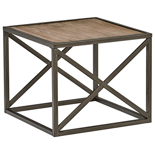 Stone & Beam Roland X-Frame End Table, 24″W, Pine