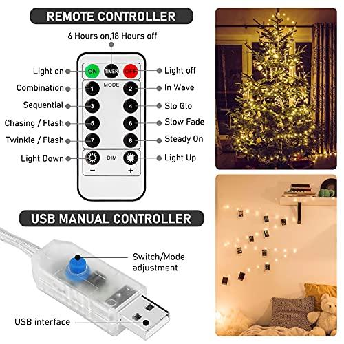 Luces de Cadena de Cortina, 3 x 2m LED Cortina Luces, 200LEDs Cadena de Luces Navidad, 8 Modos de Luces de Hadas, IP65 Impermeable, Cortina Luces USB para Decoración de Casa, Fiestas, Navidad, Bodas