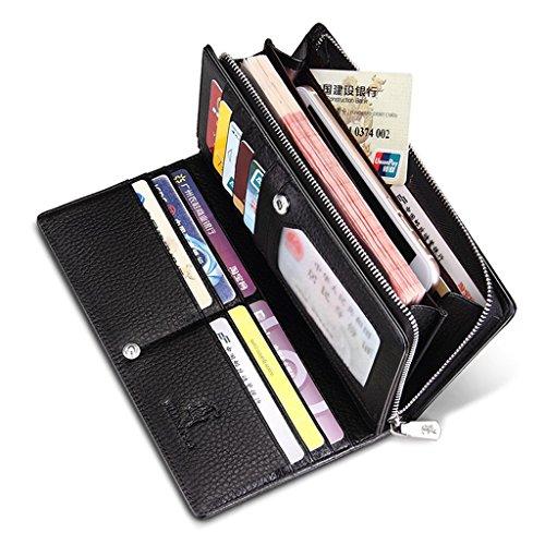 Cow Men's Black Soft Money Mens Leather Clip Genuine Long William POLO Wallet Purse g7UqxIt