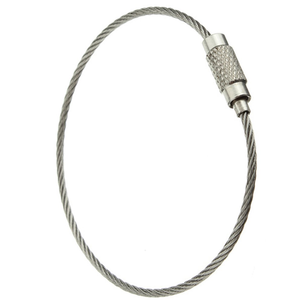 5pcs in acciaio inox Vite di bloccaggio del filo portachiavi Portachiavi Cable Accessori Outdoor R SODIAL