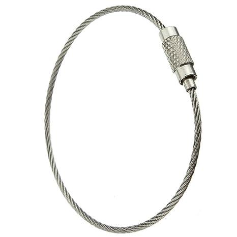 SODIAL(R) 5pcs del acero inoxidable de tornillo de bloqueo llavero alambre cable Llaveros accesorios al aire libre