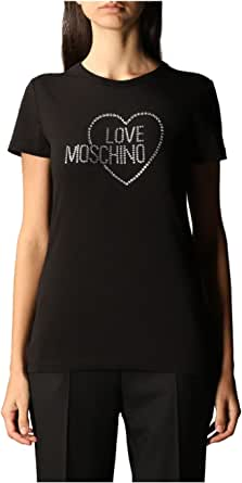 Love Moschino Short Sleeve T-Shirt_Sequin Heart Embroidery and Logo Camiseta para Mujer