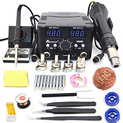 2 IN 1 800W LED Digital Soldering Station Hot Air Gun Rework Station Electric Soldering Iron For Phone PCB IC SMD BGA Welding SET 110V (8588D SET1)