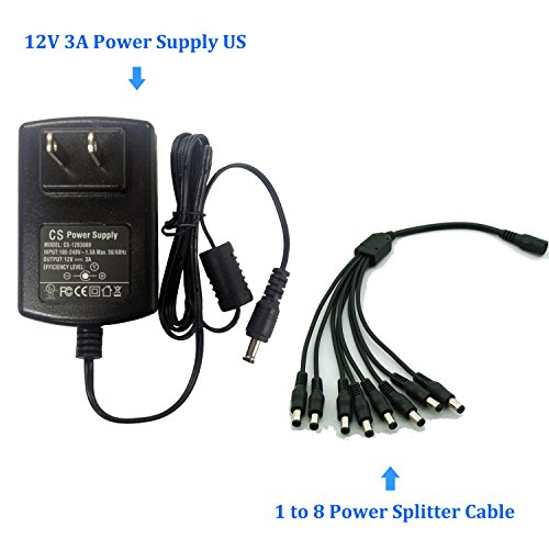 AC to DC 12V 3A 12V3A Power Adapter Supply Swithing with 1 to 8 splitter Split cable Pigtial for Cameras DVR NVR LED Light Strip DC5.52.1mm UL listed (Power Adapter Cable Model)
