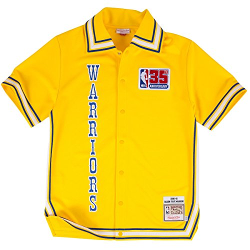 (Mitchell and Ness Golden State Warriors 1980-81 Mens Shooting Jersey in Yellow)