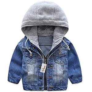 Garçons Capuche Veste en Jean Blouson Enfant Manteau Casual Manches Longues éclair Bleu Denim Haut Vêtements Printemps Automne Outwear (90 cm) 10