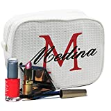 Personalized Waffle Makeup Bag - Monogrammed Cosmetic Make Up Travel Train Case - Custom Embroidered for Free (White)