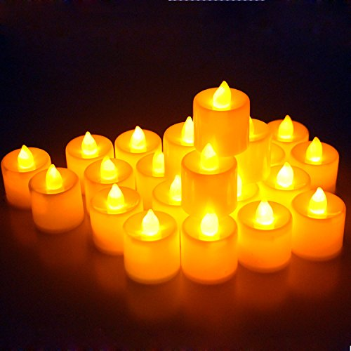 Midafon 24 Pcs LED Flameless Candles Votive Candles Flickering Tealight Candles Battery (Battery Operated Votive)