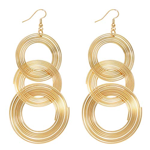 Ellevera Punk Copper Triple Spiral Earrings Gold ()