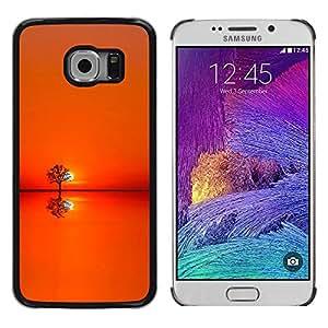 FECELL CITY // Duro Aluminio Pegatina PC Caso decorativo Funda Carcasa de Protección para Samsung Galaxy S6 EDGE SM-G925 // Sunset Orange Tree Horizon