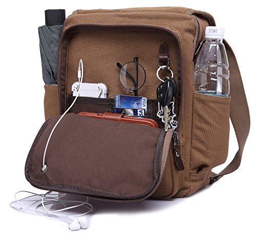 Canvas Messenger Bag Shoulder Crossbody Bag with 2 Side Pocekts for Umbrella,Water Bottle Magictodoor