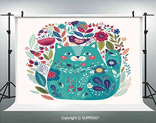Photography Backdrops Cute Kitty Surrounded by Birds Flowers Ladybugs Inspirational Folk Baby Theme 3D Backdrops for Photography Backdrop Photo Background Studio Prop