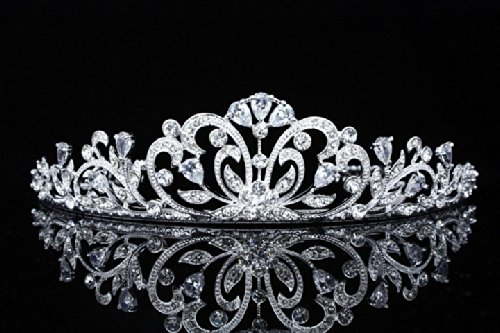 Flower Ribbon Bridal Tiara Crown - Clear Crystals Silver Plating T678