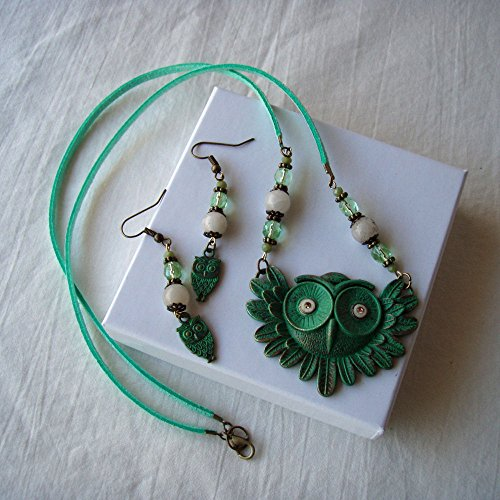 (Brass Owl Necklace Earrings Set Spring Green)