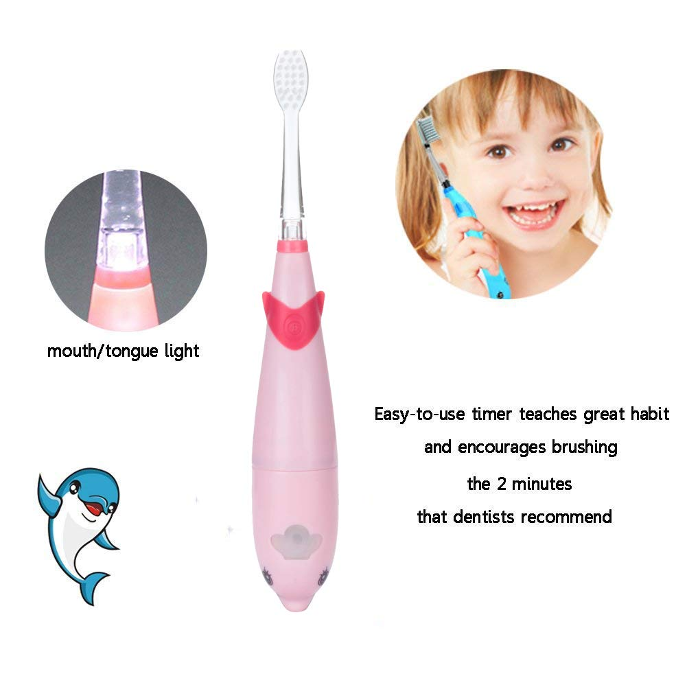 Amazon.com: Sonic Electric Toothbrush, Dolphin Musical Kids Toothbrush with 7 Color LED Light & 2 Soft Bristle Brush Heads for Baby Toddler Children 3-5 ...