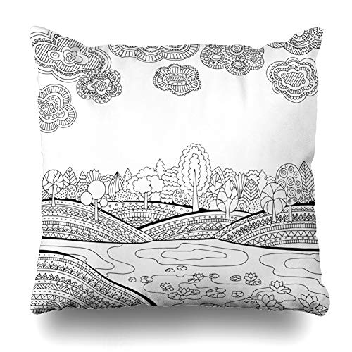 NOWCustom Throw Pillow Cover Printable Sky Coloring Page Adults Lake Zentangle Nature Ink Book Black Pond River Design Ornate Zippered Pillowcase Square Size 16 x 16 Inches Home Decor Pillow Case]()