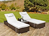 Garden Rattan Furniture Miami 3PC Sun Lounger Recliner Set with Side Table and Outdoor Covers in Brown