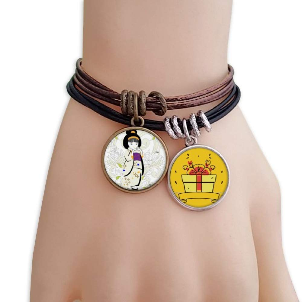 DIYthinker Japan Kimono Girl Pattern Bracelet Rope Wristband Gift Surprise Charm