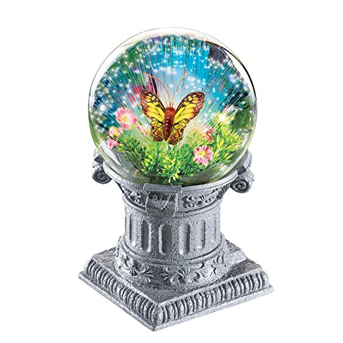 Collections Etc Fiber Optic Butterfly Gazing Ball with Solar Lights