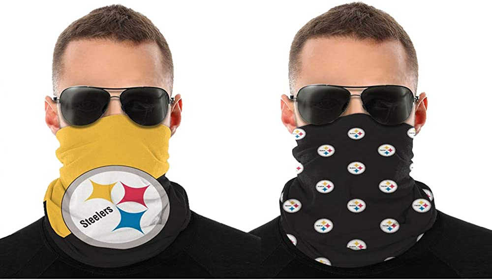2 Pcs Face Shield Bandanas Neck Gaiter Face Scarf 3D Print American Football Team
