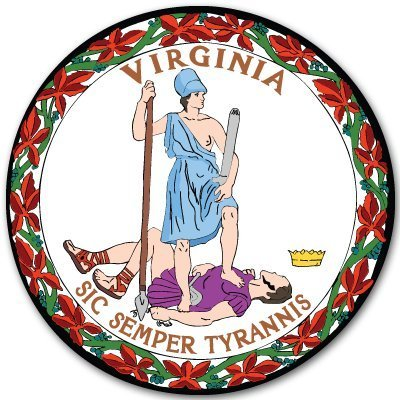 Virginia State Seal - INDIGOS UG Sticker/Decal - JDM - Die Cut - Virginia State Seal Flag Bumper Sticker Decal 101mmx101mm