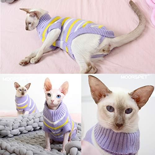 Bonaweite Hairless Cats Stripe Vest Turtleneck Sweater, Breathable Adorable Cat Wear Shirt Clothes, Cat's Pajamas Jumpsuit for Sphynx, Cornish Rex, Devon Rex, Peterbald 22