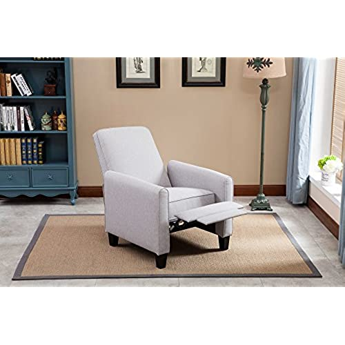 small chairs for bedroom. NHI Express Savannah Linen Push Back Full Arm Recliner  Gray Small Chair for Bedroom Amazon com