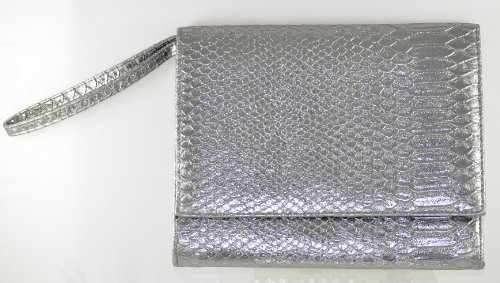(Neiman Marcus Pewter Faux Croc Clutch with Handle)