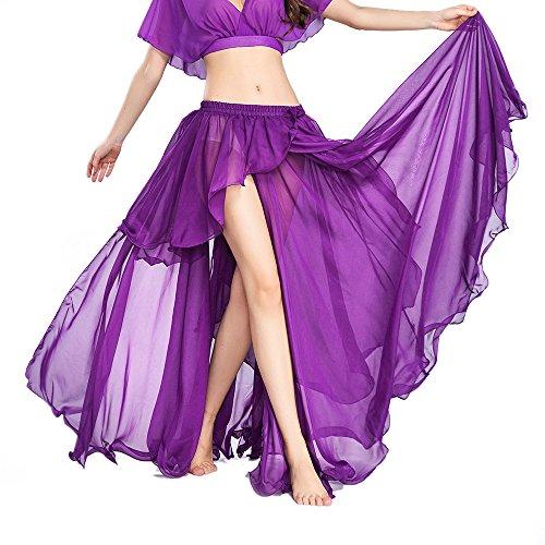 ROYAL SMEELA Chiffon Fairy Belly Dance Skirt for Women Tribal Belly Dance Skirts High Split, One Size, 11 Colors
