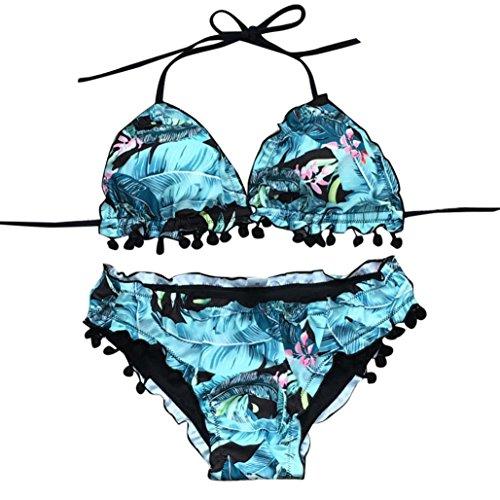 Lamolory Womens Swimsuits, Wave Edge Streamer Ball Bikini Set Sexy Print Suit Push-Up Swimwear (L, Blue)