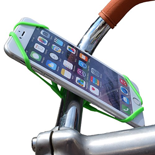 Universal Bike Mount Handle Bar Phone Holder, Rubber Silicone Strap For iOS Android Smartphone GPS Or Other Devices - Suitable For Baby Prams / Trolleys / Steering Wheal.
