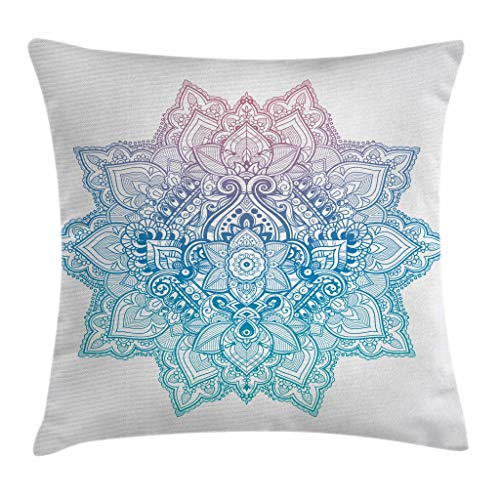 Ambesonne Lotus Throw Pillow Cushion Cover, Bohemian Tattoo Style Pastel Toned Mandala Abstract Lotus Flower Design, Decorative Square Accent Pillow Case, 16