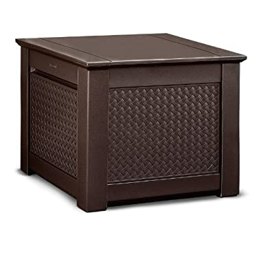 Rubbermaid Patio Chic Outdoor Storage, Cube, Dark Teak Basket Weave (1837303) (Discontinued by Manufacturer)