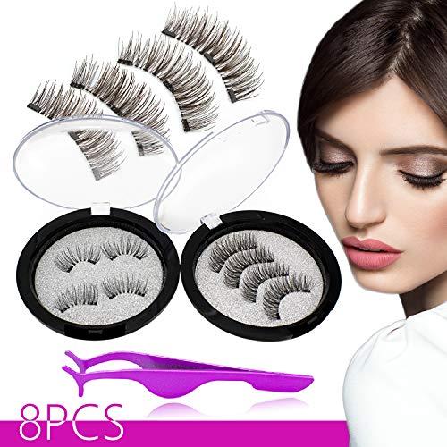 Magnetic False Eyelashes,Upgraded 3D Magnetic lashes,Reusable Natural Full Eye Deluxe Ultra Thin Magnetic eyelashes,with one Eyelash Tweezers two Fake Lashes Storage Box-8pcs