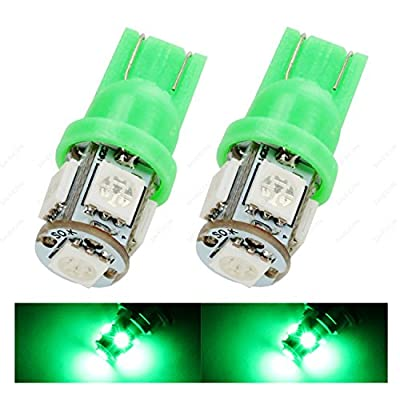 SAWE - 168 194 2825 T10 W5W 5050 5-SMD LED License Plate Dome Map Lights Bulbs (2 pieces) (Green): Automotive