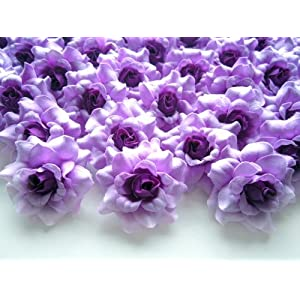 "(100) Silk Purple Roses Flower Head - 1.75"" - Artificial Flowers Heads Fabric Floral Supplies Wholesale Lot for Wedding Flowers Accessories Make Bridal Hair Clips Headbands Dress 91"
