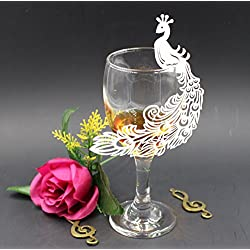 Krismile 50 White Wedding Perfect Peacock Laser Cut Table Name Place Cards Wine Glass Party Decoration Centerpieces