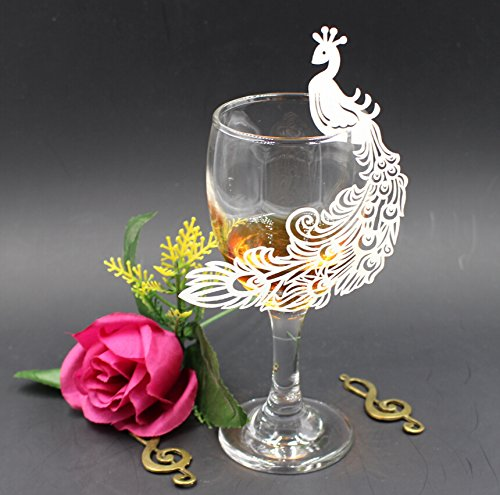 Krismile® 50 White Wedding Perfect Peacock Laser Cut Table Name Place Cards Wine Glass Party Decoration - Wedding Peacock Glasses