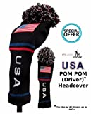 USA Pom Pom Driver Headcover by JP Lann (Classic Knit / Spandex), Outdoor Stuffs