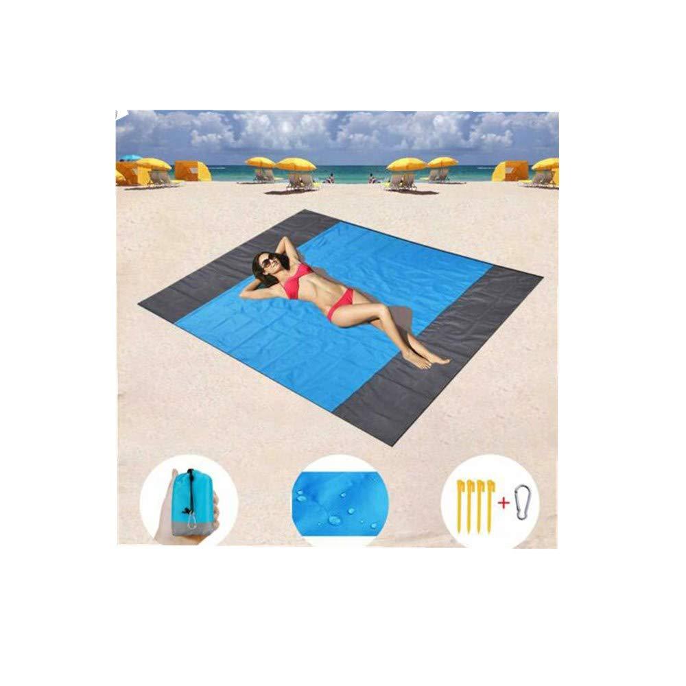 FANORAD Beach Blanket, Outdoor Portable Picnic Blanket Rug Sandless Mattress Pad Waterproof Foldable Pocket Beach Mat (210X200cm, Blue)