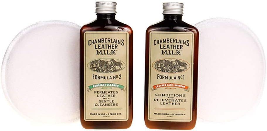 Chamberlain's Leather Milk - Set de acondicionador y Limpiador de Cuero Naturales - No. 1 y 2 - con 2 Almohadillas de restauración - 0.18 L