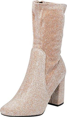 Cambridge Select Women's Closed Round Toe Soft Stretch Sock Style Chunky Block Heel Mid-Calf Boot,8.5 B(M) US,Rose Gold Glitter