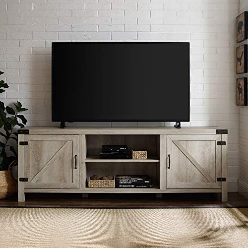 Home Accent Furnishings New 70 Inch Barn Door TV Console with White Oak Finish
