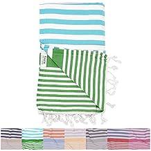 Amalfi Aqua Green Turkish Towel for Bath & Beach Swimming Pool Yoga Pilates Picnic Blanket Scarf Wrap - Peshtemal Hammam Fouta by The Riviera Towel Company
